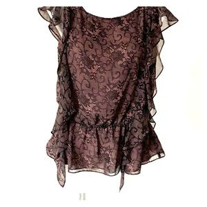 Nine West Black and pink lace look blouse